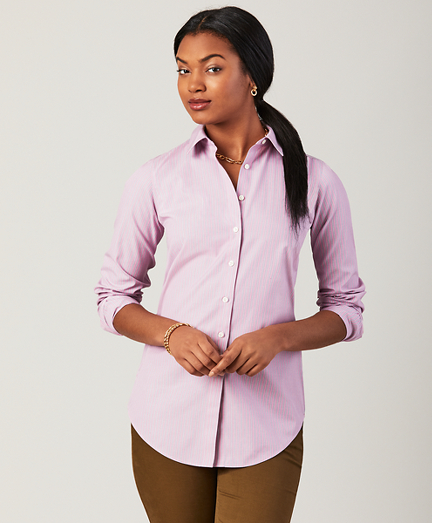 Petite Non-Iron Classic-Fit Striped Stretch Cotton Poplin Shirt