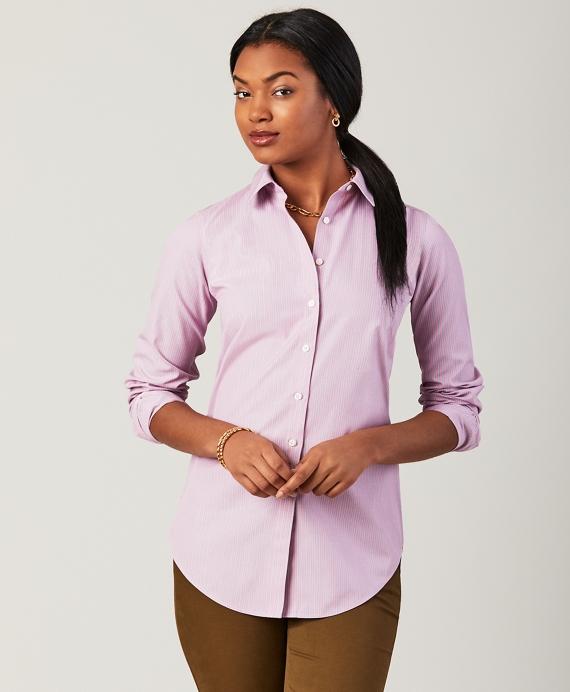 Petite Non-Iron Classic-Fit Striped Stretch Cotton Poplin Shirt Pink
