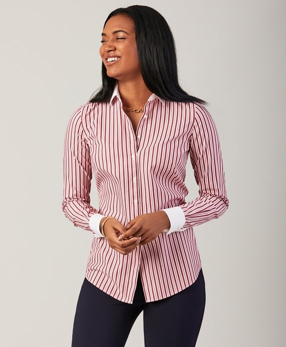Petite Non-Iron Striped Stretch Cotton Fitted Shirt Red