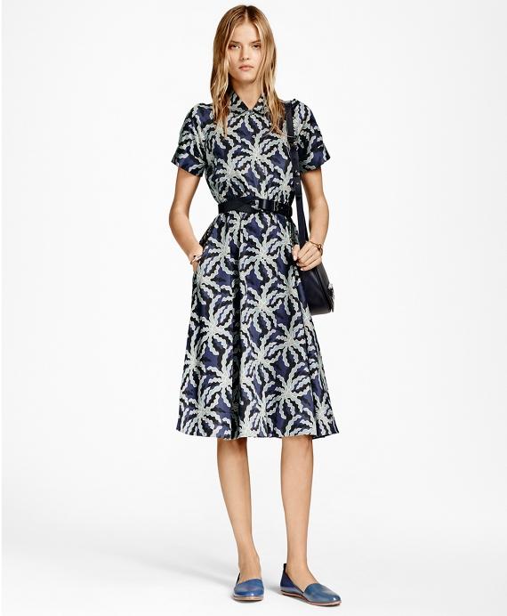 Petite Palm Tree Print Cotton Sateen Shirt Dress Blue