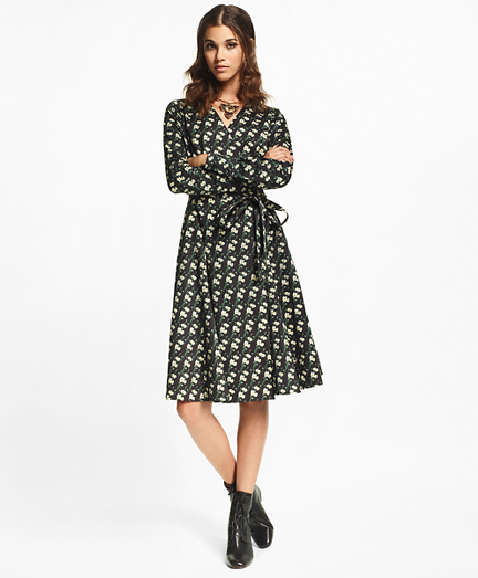 Petite Snow Blossom-Print Cotton Sateen Wrap Dress