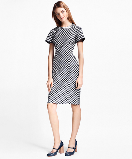 Petite Gingham Double-Weave Sheath Dress