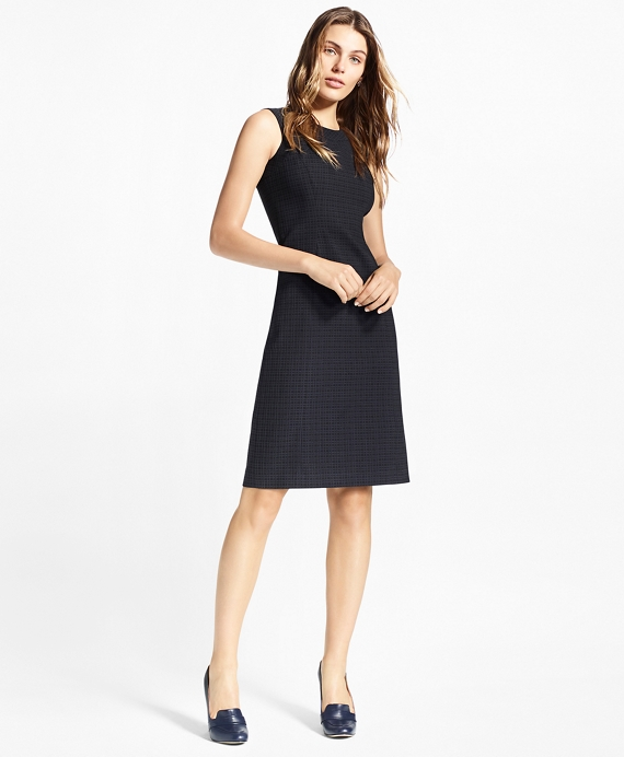 Petite Plaid Stretch-Cotton Jacquard Dress Navy