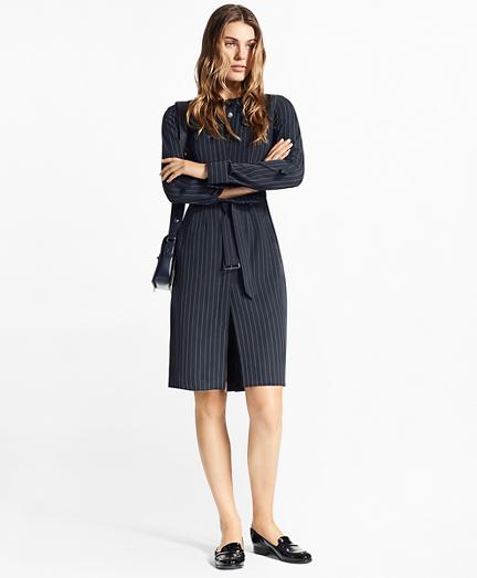 Petite Pinstripe Trench Dress