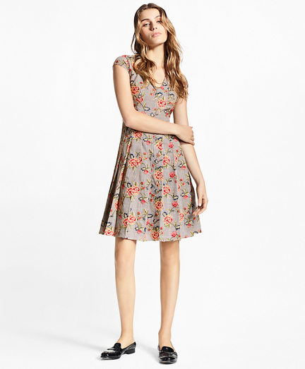 Petite Floral-Embroidered Mini-Houndstooth Cotton Dress
