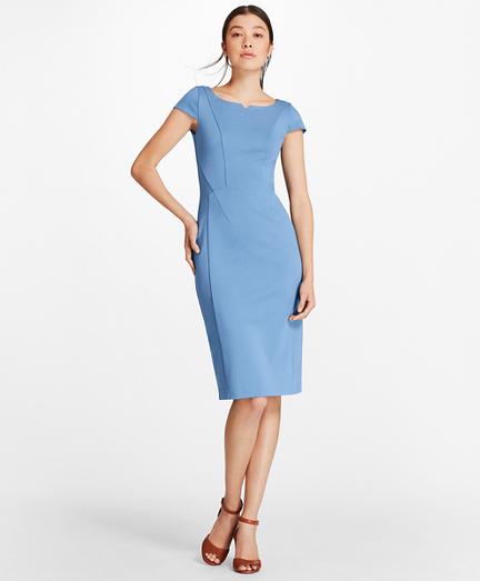 Petite Ponte-Knit Cap-Sleeve Sheath Dress