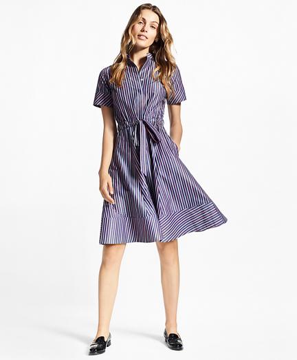 Petite Striped Cotton Poplin Shirt Dress