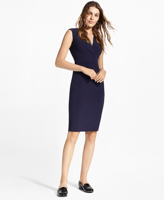 Petite Double-Weave Crepe Sheath Dress Navy