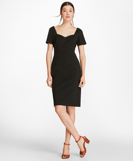 Petite Ponte-Knit Sweetheart-Neck Sheath Dress