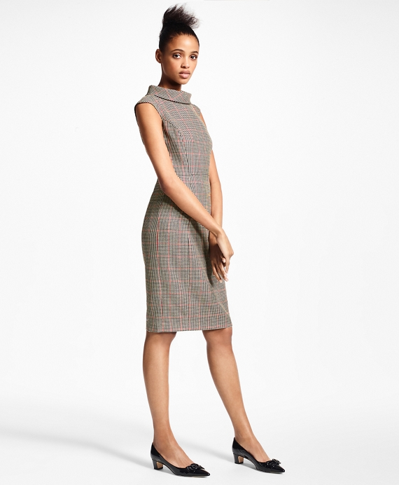 Petite Checked Wool Sheath Dress by Brooks Brothers