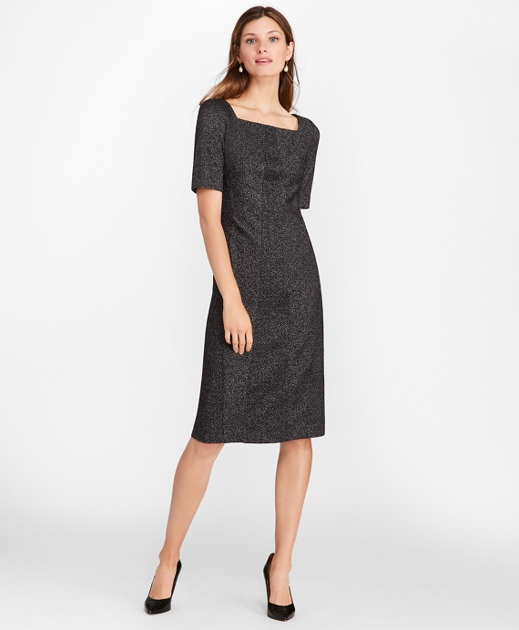 Petite Herringbone Knit Wool-Blend Sheath Dress Charcoal