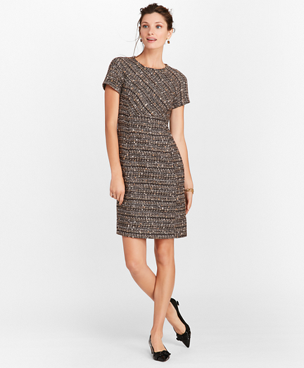 Petite Boucle Short-Sleeve Sheath Dress