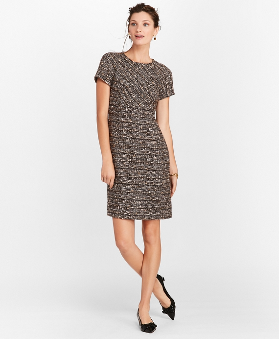 Petite Boucle Short-Sleeve Sheath Dress Black-Tan