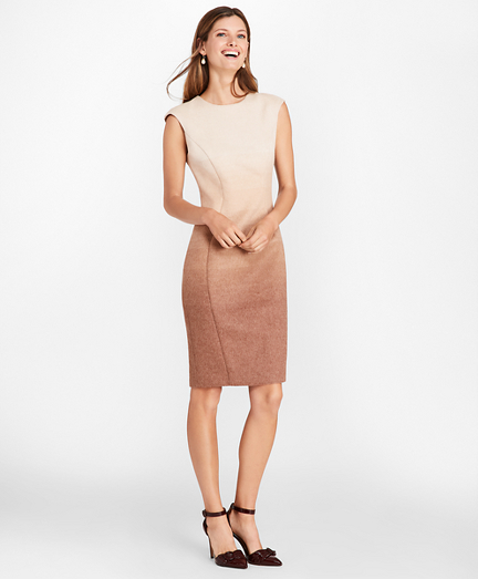 Petite Ombre Wool-Alpaca-Blend Sheath Dress