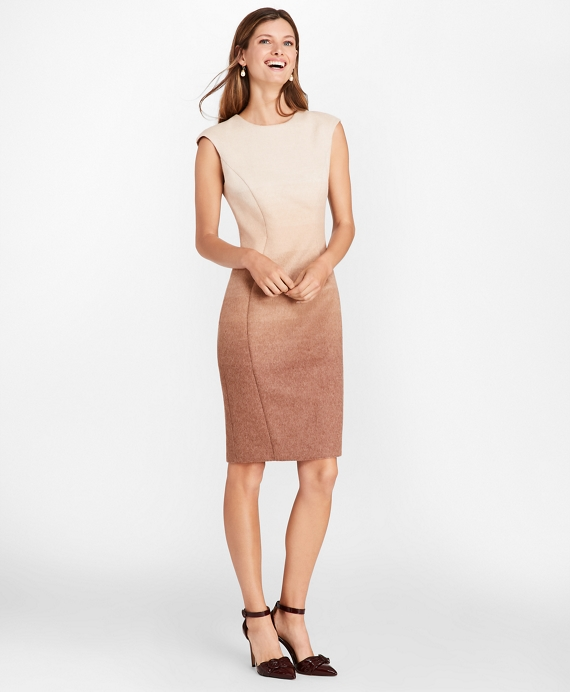 Petite Ombre Wool-Alpaca-Blend Sheath Dress Camel