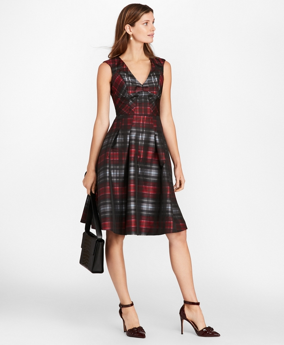 Petite Tartan Jacquard Dress Black Multi