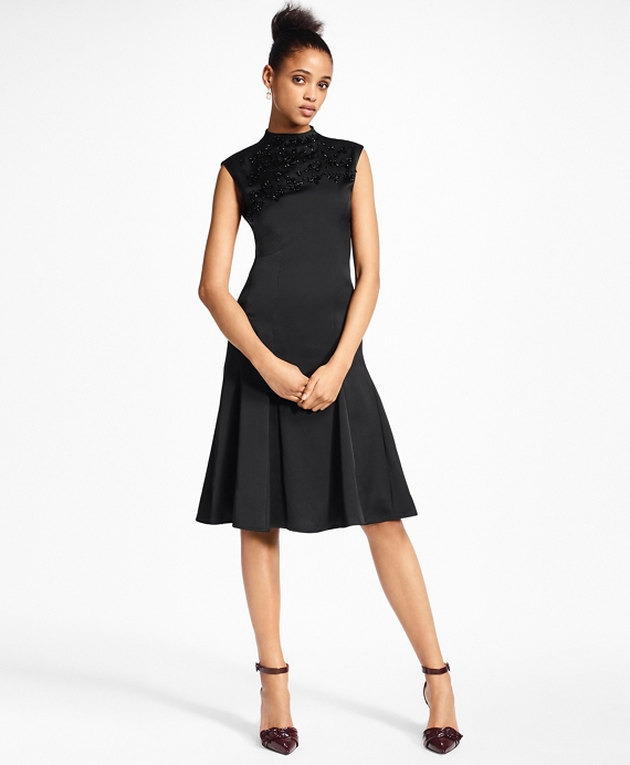 Petite Beaded Satin A-Line Dress Black
