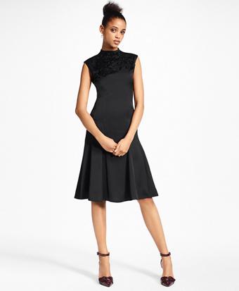 Petite Beaded Satin A-Line Dress
