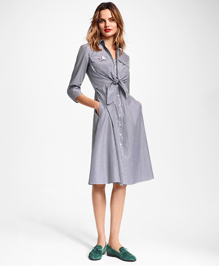 Petite Striped Cotton Poplin Tie-Waist Shirt Dress
