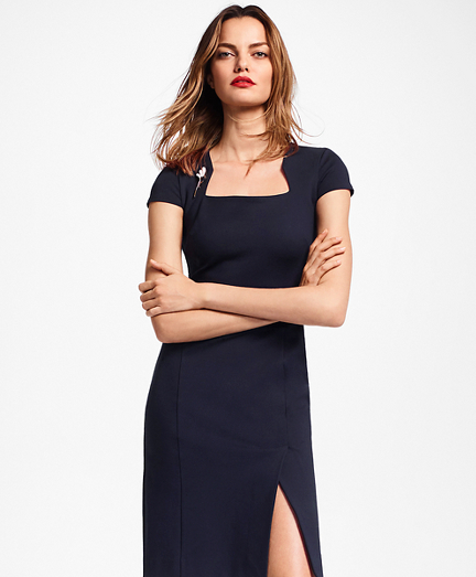 Petite Ponte-Knit Square-Neck Sheath Dress