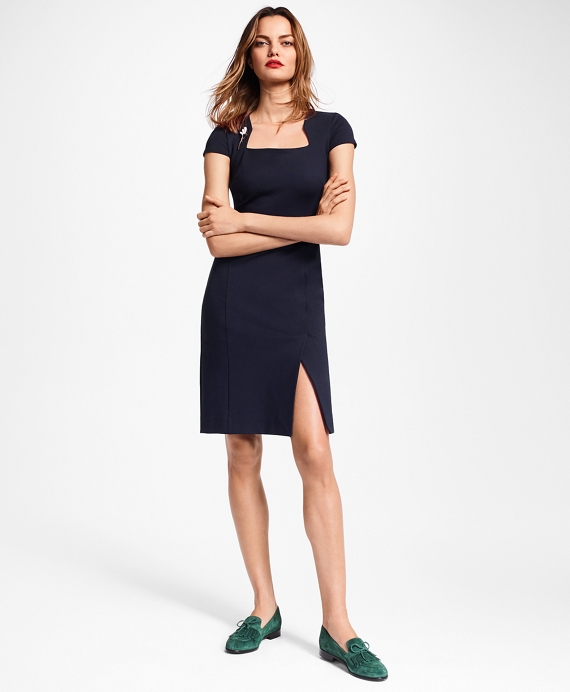 65c8442e331 Petite Ponte-Knit Square-Neck Sheath Dress - Brooks Brothers