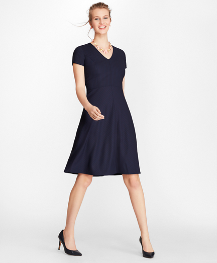 Petite Pinstripe BrooksCool® Merino Dress