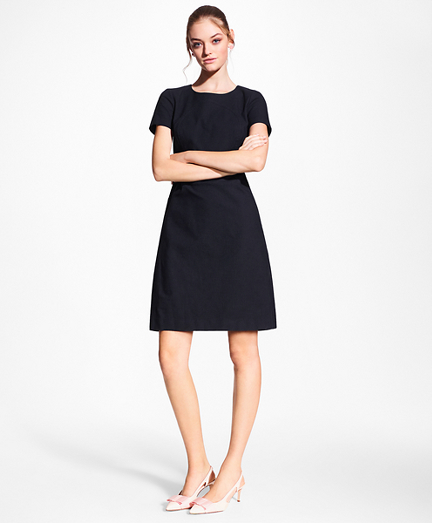 Petite Stretch-Cotton Jacquard Shift Dress