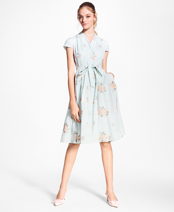 9392c24372e Petite Floral-Embroidered Striped Cotton-Silk Shirt Dress - Brooks Brothers