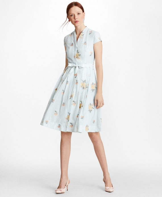 88da90b0012 Petite Floral-Embroidered Striped Cotton-Silk Shirt Dress - Brooks ...