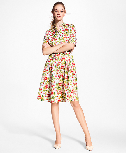 Petite Cherry-Print Cotton Sateen Shirt Dress