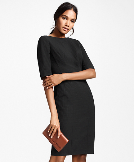 Petite Stretch-Cotton Jacquard Sheath Dress