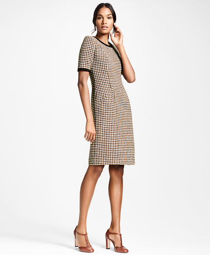 Petite Checked Tweed A-Line Dress