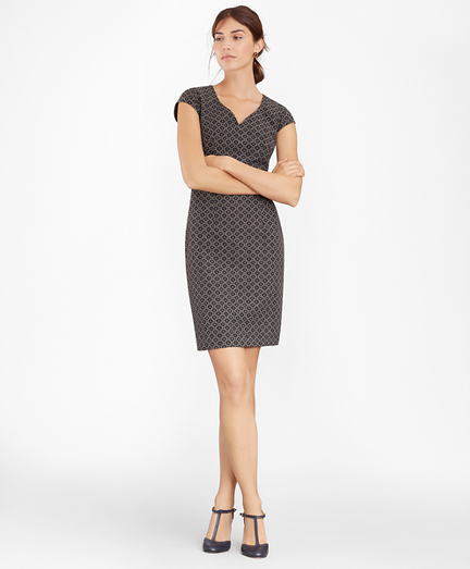 Petite Floral Jacquard Sheath Dress