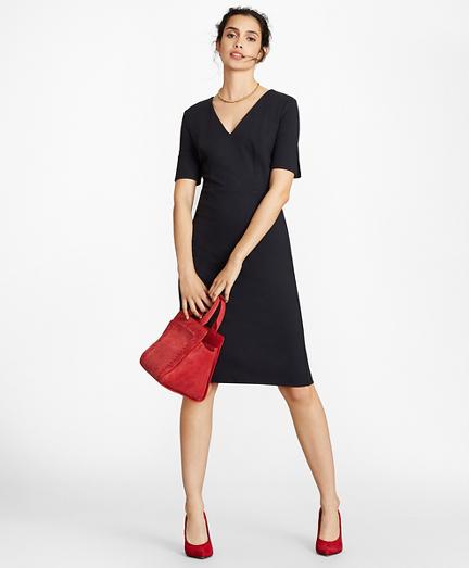 Petite Ponte Knit Elbow-Sleeve Sheath Dress