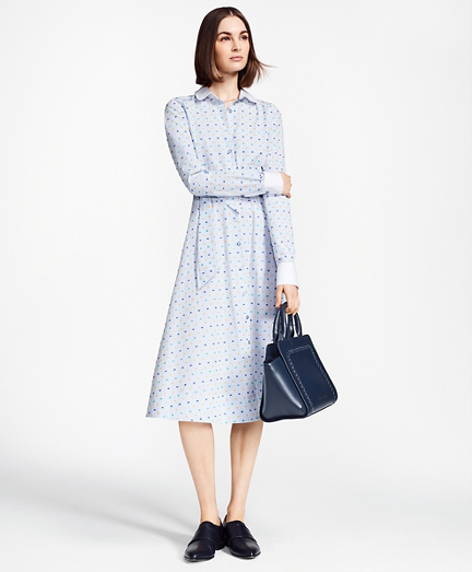 Petite Clip-Dot Supima® Cotton Dobby Shirt Dress