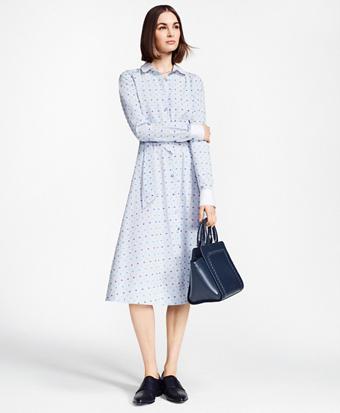 Petite Clip-Dot Supima® Cotton Dobby Shirt Dress