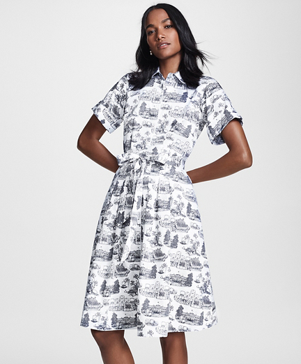 Petite Toile Supima® Cotton Sateen Shirt Dress
