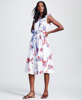 Petite Floral-Print Supima® Cotton Sateen Flutter-Sleeve Shirt Dress