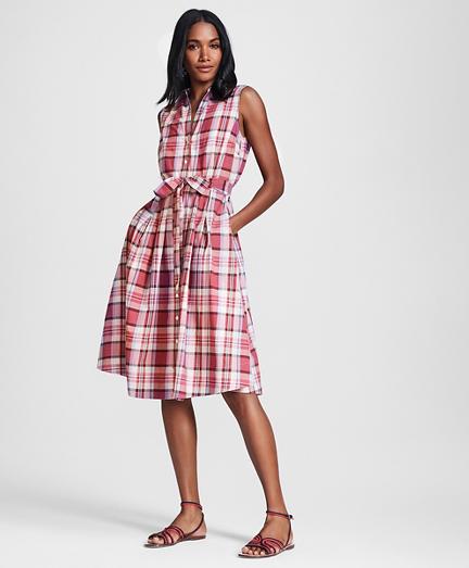 Petite Madras Cotton Shirt Dress
