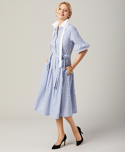 Petite Striped Bell-Sleeve Shirt Dress
