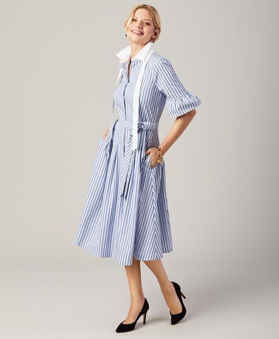 Petite Striped Bell-Sleeve Shirt Dress Blue