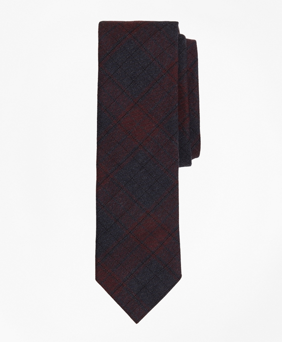 Plaid Stretch Cotton Slim Tie Navy-Burgundy
