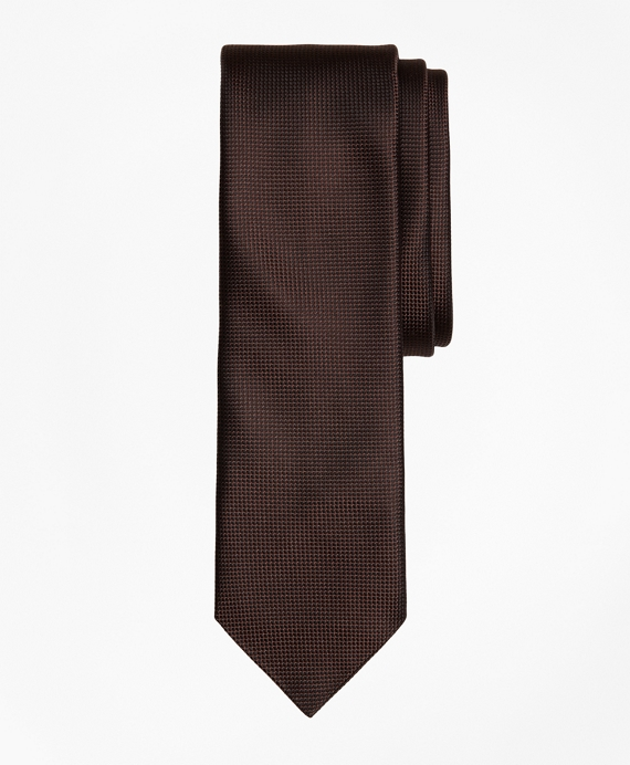 Textured Silk Jacquard Slim Tie Brown