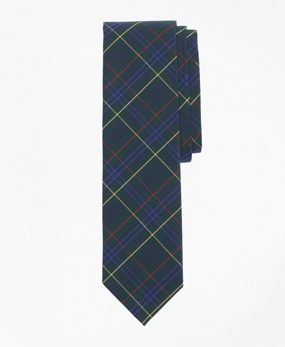 Plaid Cotton Broadcloth Tie Green-Navy