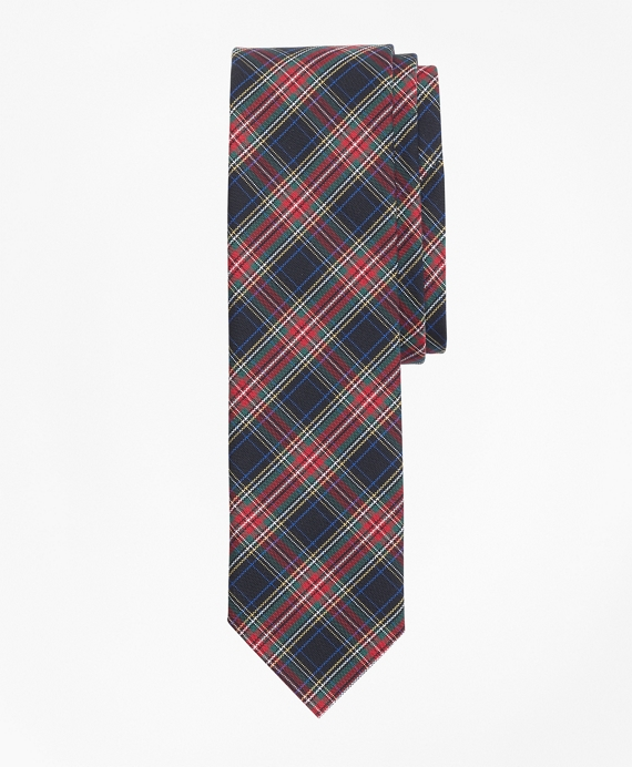 Stewart Tartan Basketweave Tie Black-Red