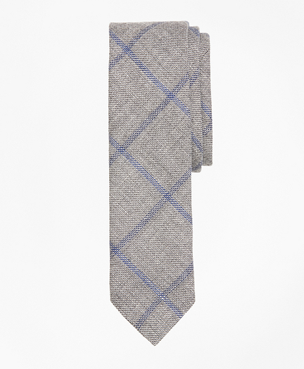 Windowpane Linen-Wool Sharkskin Tie