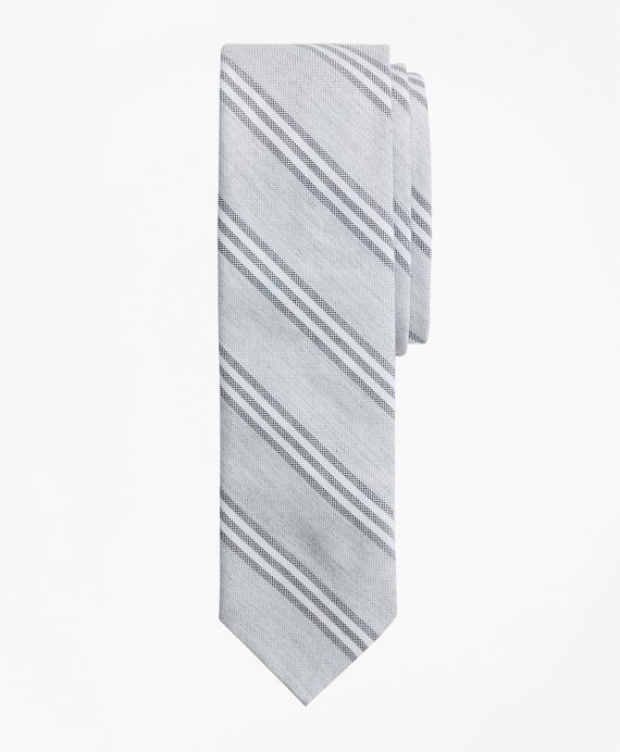 Stripe Cotton Oxford Tie Grey