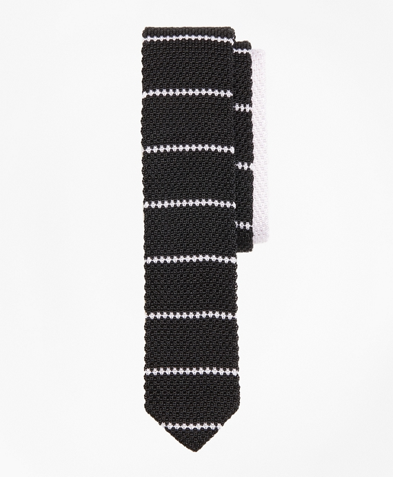 Stripe Silk Knit Tie Black-White