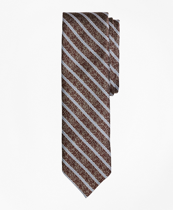 Heathered Stripe Silk Jacquard Tie Brown
