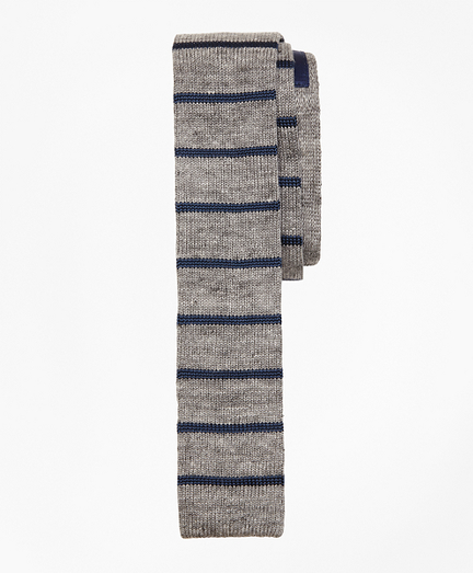 Striped Linen-Silk Knit Tie